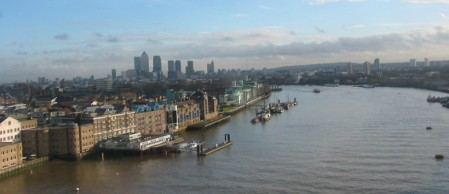 East London from Tower Bridge, Dec. 2009