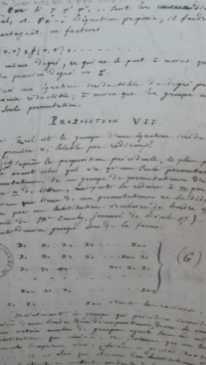 Handwritten notes by E. Galois