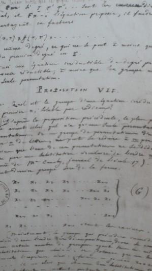 Handwritten notes by E. Galois