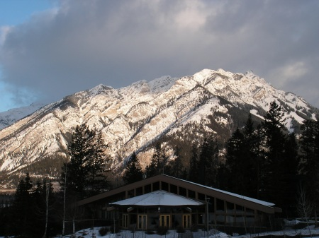 The TransCanada Pipeline pavilion, with Cascade Mountain (?), Banff, March 20, 2012