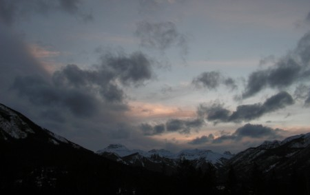 sunset from the Banff Centre, Banff, Canada, March 21, 2012