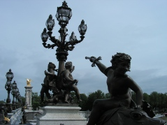 Pont Alexandre III, Paris, May 8, 2012. On our way to the old-fashioned science museum, Palais de la Découverte, we had to cross the bridge on foot as the nearest métro station was closed, due to N. Sarkozy taking part in a war memorial ceremony there...