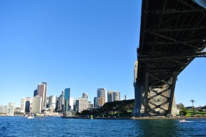 downtown Sydney from under Sydney Harbour bridge, July 15, 2012