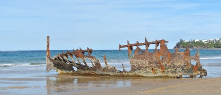 wreck of the S.S. Dicky, Caloundra beach, Qld, Australia, Aug. 19, 2012