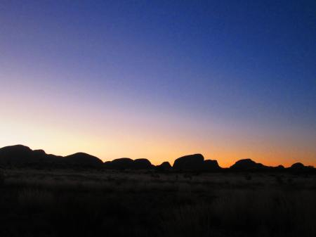 (past) sunset over Kata Tjuta (Mounts Olga); Northern Territory, Australia, Aug. 6, 2012