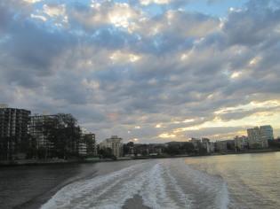 sunset over the Brisbane river, Australia, Aug. 17, 2012