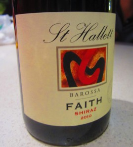 Faith, Barossa Valley wine: strange name for a Shiraz (as it cannot be a mass wine!, but nice flavours
