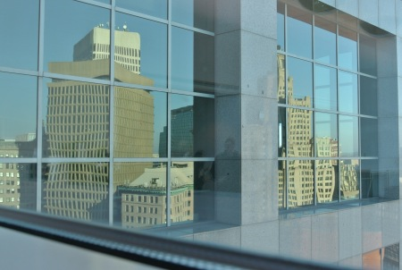 Providence reflected on the ICERM building, Nov. 29, 2012