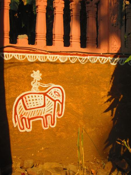 wall painting, Ranthambore, Rajasthan, Dec. 28, 2012