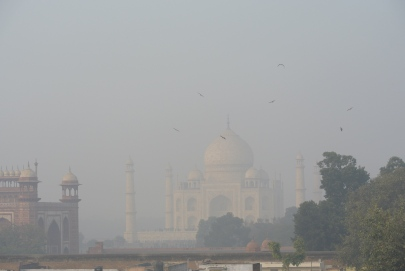 The Taj Mahal from the terrace of Hotel Kamal, Agra, Jan. 2. 2013