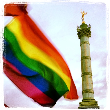 rainbow flag and Colonne de Juillet, Bastille, Paris, Jan. 28, 2013 (c.) Alessandra Iacobucci