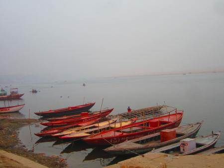 boats on the Ganges from a Varanasi ghat, Varanasi, Uttar Pradesh, Jan. 6, 2013