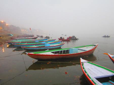 boats on the Ganges before sunset, Jan. 8, 2013