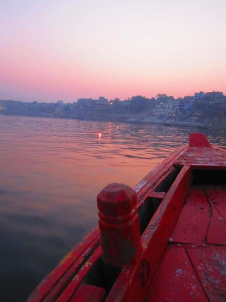 candles on the Ganges in the sunset, Varanasi, Jan. 9, 2013