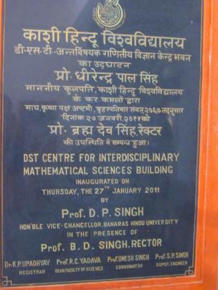 plaque in the department of mathematical sciences. BHU, Varanasi, Uttar Pradesh, Jan. 10, 2013