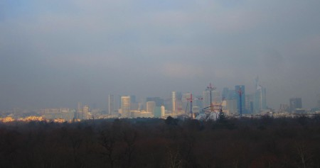 view of La Défense business district from my office at Paris-Dauphine, Jan. 25, 2013