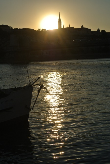 sunset on the Danube, Budapest, July 23, 2013