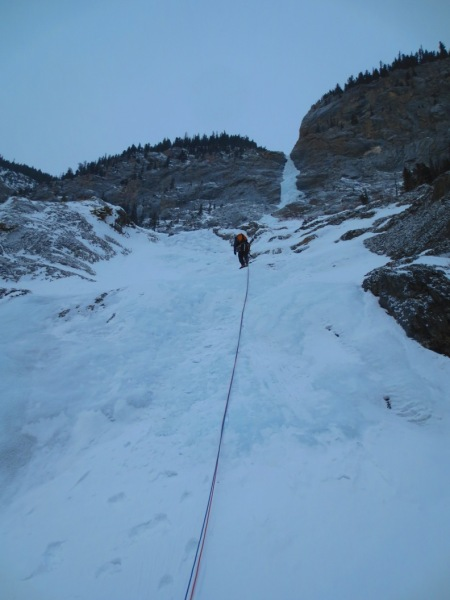 Joe in the first pitch of Cascade Mountain Fall, taking it easy!, March 02, 2014