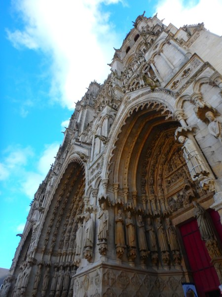 main entrance to the cathedral of Amiens, France, March 27, 2016
