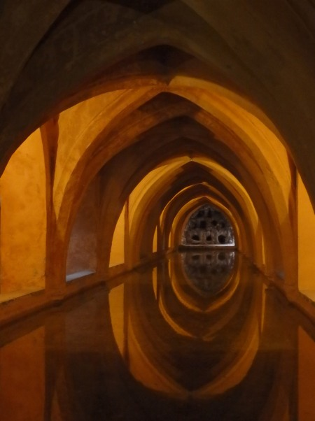 Baths of Lady María de Padilla, underground basin in the Alcazar, Sevilla, May 7, 2016