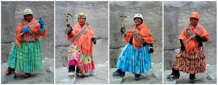 The Wider Image: Bolivia's cholita climbers: Combination picture shows Aymara indigenous women (L-R) Domitila Alana, 42, Bertha Vedia, 48, Lidia Huayllas, 48, and Dora Magueno, 50, posing for a photograph at the Huayna Potosi mountain, Bolivia April 6, 2016Combination picture shows Aymara indigenous women (L-R) Domitila Alana, 42, Bertha Vedia, 48, Lidia Huayllas, 48, and Dora Magueno, 50, posing for a photograph at the Huayna Potosi mountain, Bolivia April 6, 2016. (c.) REUTERS/David Mercado. REUTERS/David Mercado